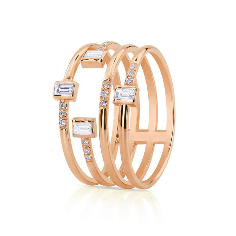Choucong Handmade นิ้วมือสีเหลือง Rose Gold Filled Zircon CZ งานแต่งงานแหวนสำหรับผู้ชายเครื่องประดับ