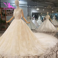 AIJINGYU Wedding Dress Arab Gowns For Sale Modest Puffy Sleeve Bridals Luxury Transparent Plus Size Custom Made Wedding Dresses