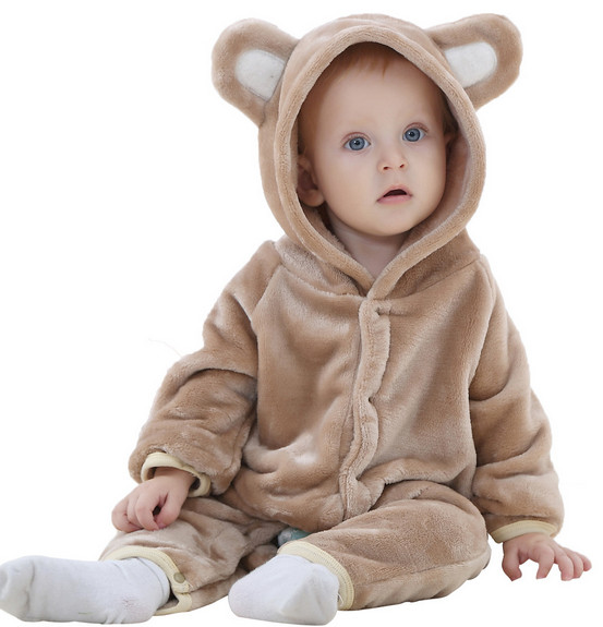 Cartoon Fleece Newborn Baby Clothes Animal Overall Menina Baby Costume Warm Longsleeve Baby Rompers Retail Baby Boy Romper Hot