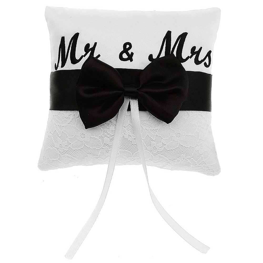 Mr & Mrs Satin Ribbon Bow Wedding Ring Pillow 15cm-in