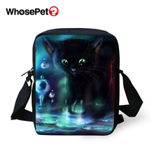 WHOSEPET Women Messenger Bags Cartoon Cats Prints Cross Body Shoulder Fashion Lady Mini Flap Postbags Cool Girls School Bag