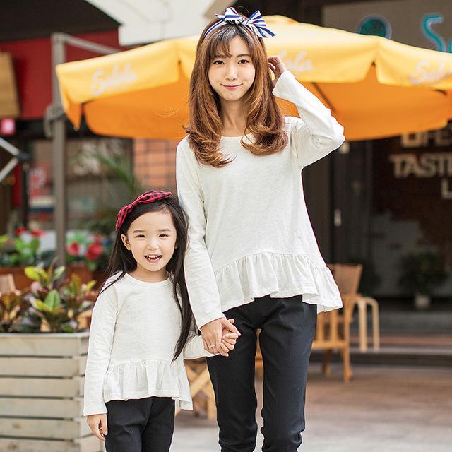 2017 primavera algodão t camisa outono primavera roupas mãe e filha família correspondência clothing família olhar nc
