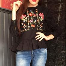 2017 Fashion Women Blouses Flower Embroidery Casual Shirts Hem Ruffles Pleated Vintage Black White Loose Tops Blusas Feminina