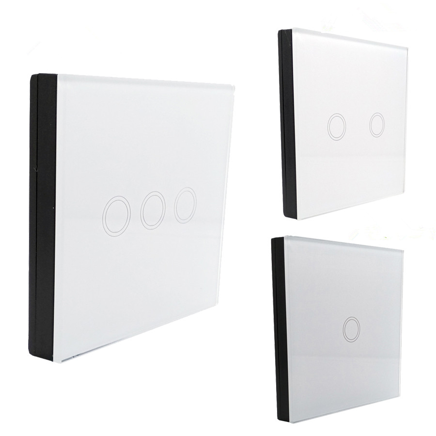 EU/UK Standard Touch Switch 1Gang/2 Gang/3 Gang 1 Way,Crystal Glass Panel,White,Fireproof Wall Light Switch for Smart Home smart home uk standard crystal glass panel 2 gang 2 way golden wall touch switch intelligent touch screen light touch switch led