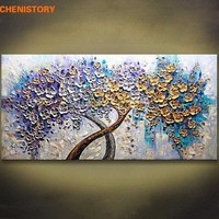 Unframed Romantic Flower Tree Hand Painted Oil Painting Home Decor Palette Knife Painting For Wedding Decoration Wall Art