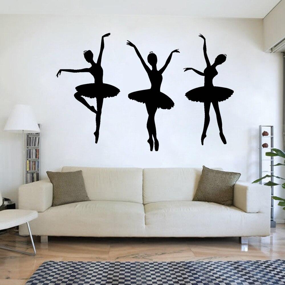 Wall Stickers Home Decor Rational 3pcs Ballerina Ballet Dancers Girls Silhouette Vinyl Wall Decal Dance Room Decor Stickers For Girls Room Bedroom Decoration D635 Traveling