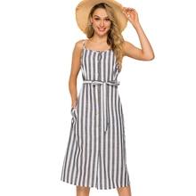 Button Striped Print Casual Summer Dress 2019 Sexy Beach style Strap Round neck Off Shoulder Women Midi Vestidos