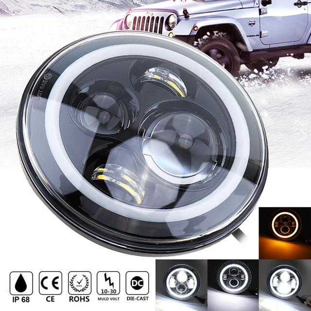 US $94 12 |7 Inch 45W Car LED Headlights Halo Ring Turn Signal White/amber  Headlamp for Jeep Wrangler JK LJ CJ Hummer H1 H2 Harley Offroad-in Car