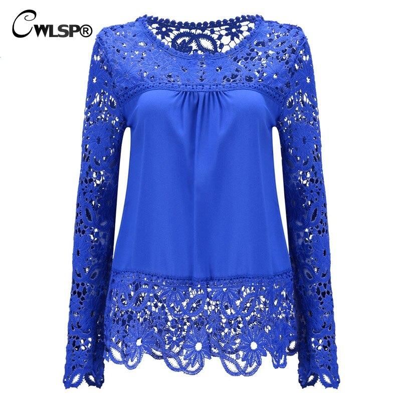 CWLSP Plus size Women Chiffon Blouses Shirts Long Sleeve Tops Lace Blouses Hollow out Crochet Blusas Femininas 2017 Fashion