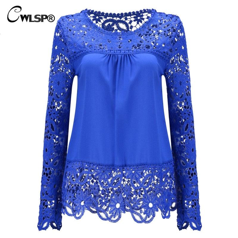 CWLSP Plus Size Women Chiffon Blouses Shirts  Long Sleeve Tops Lace Blouses Hollow Out Crochet Blusas Femininas 2019 Fashion