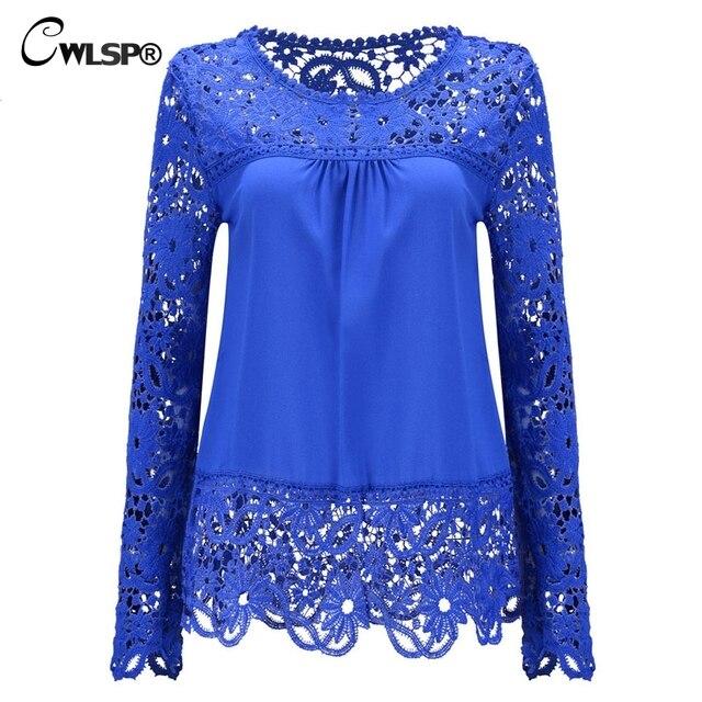 c57d257d81b CWLSP Plus size Women Chiffon Blouses Shirts Long Sleeve Tops Lace Blouses  Hollow out Crochet Blusas