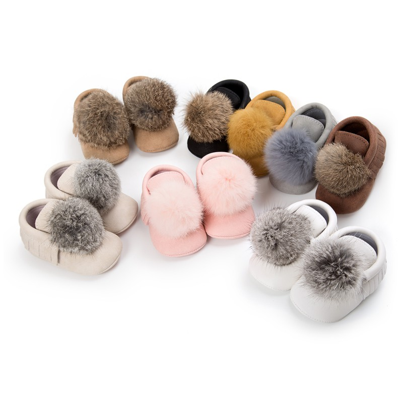 Cute Hair Ball Baby Girl Shoes First Walkers PU Princess Shoes Newborn Tassel Soft Bottom Slip Baby Girl Shoes