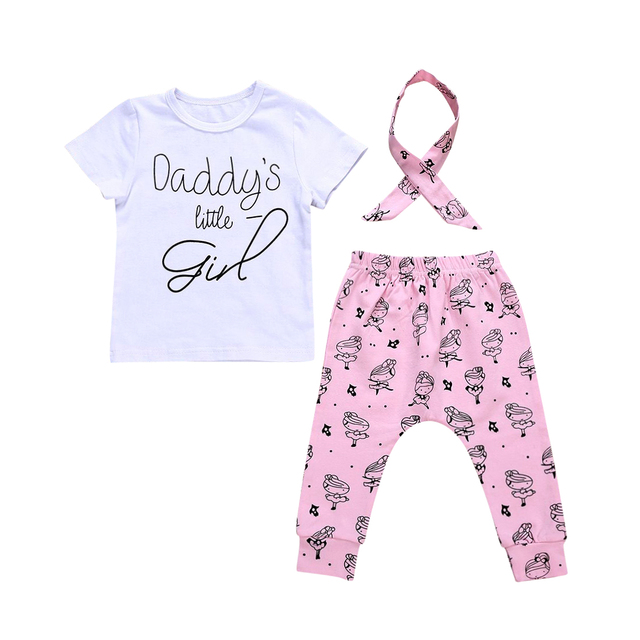 70cb58965c Emmababy Newborn Kids Baby Girl 2018 Summer Casual Short Sleeve T-shirt  Tops+Pants+Headbands Outfit Clothes