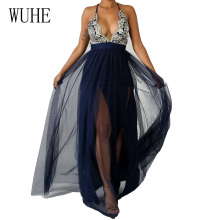 WUHE New Arrival See Through Mesh Floor-length Dress Summer Sexy Deep V Neck Off Shoulder Sleeveless Maxi Women Robe Femme