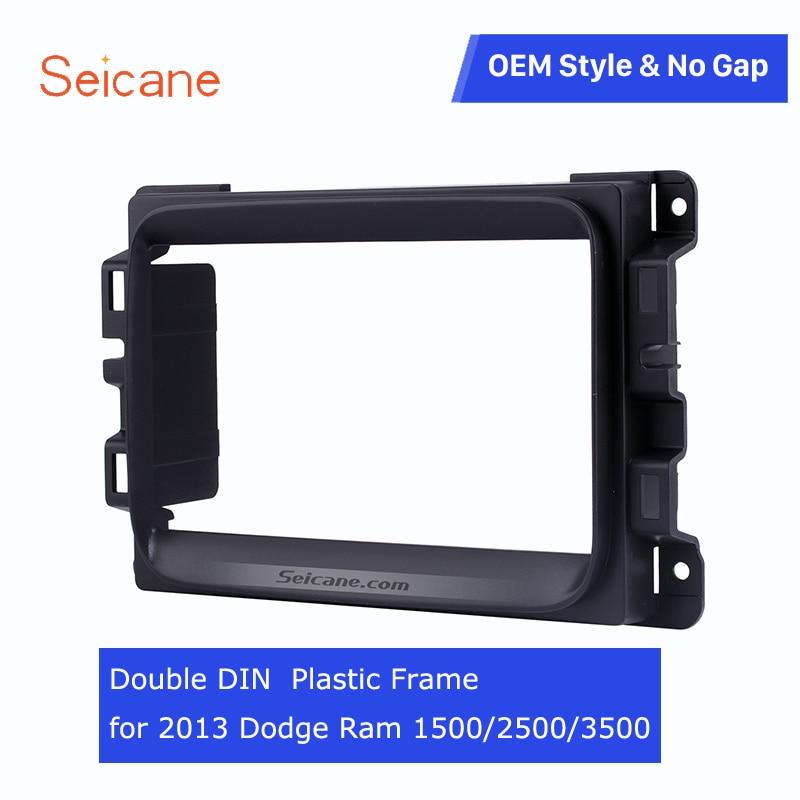Panel de Radio Estéreo Seicane negro 2 Din para Dodge Ram 1500 2500 3500 DVD marco estéreo embellecedor biselado para salpicadero no gap