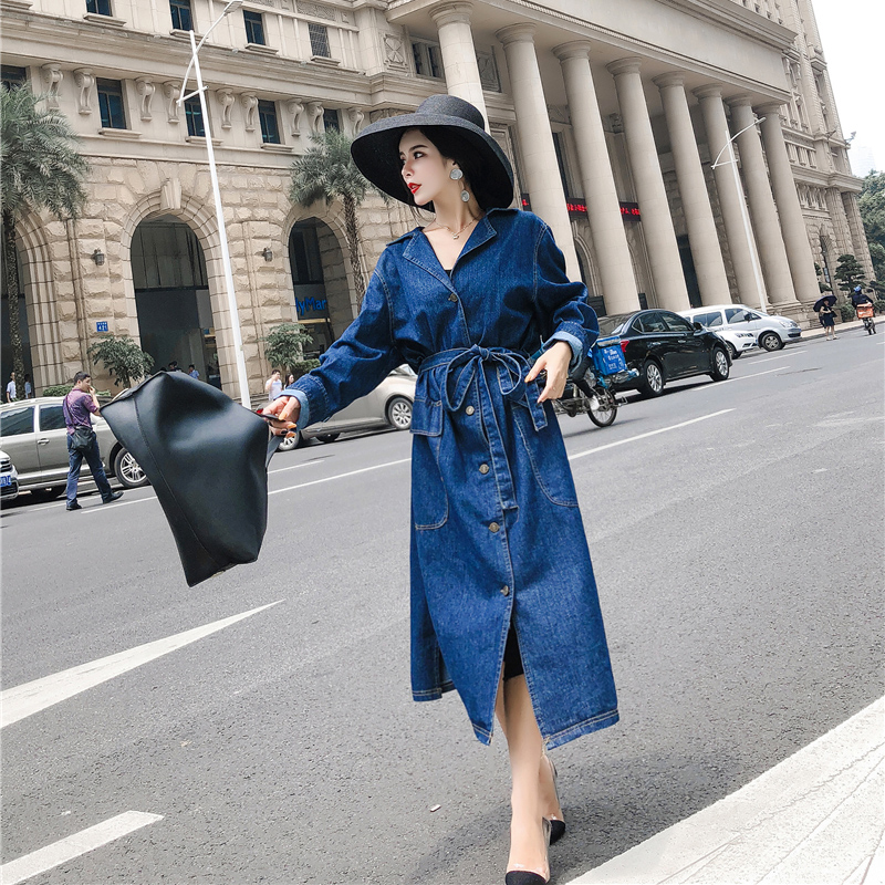 Fashion Women New Casual Personality Lapel Loose Waist Long Section Knee Single-breasted Denim Windbreaker Coat Matching Beltw63