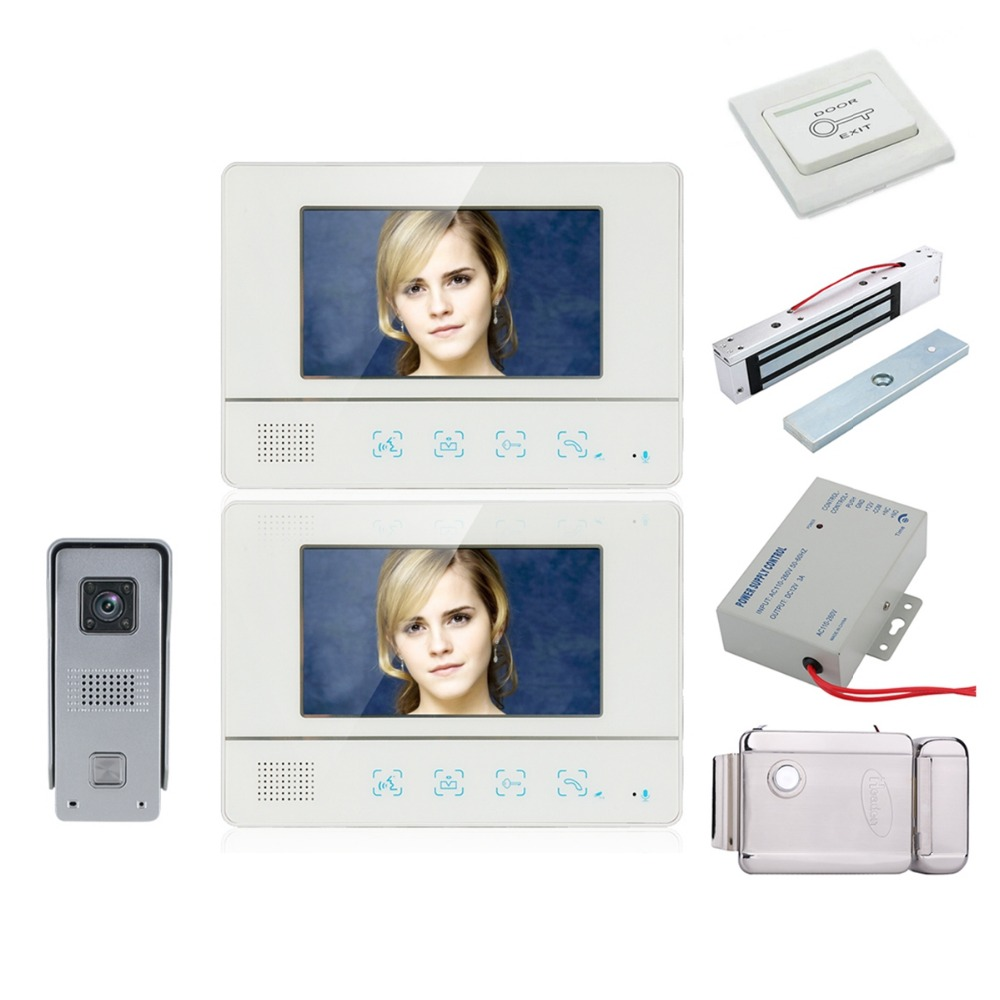 Home Security 7 Inch TFT Touch Screen Video Door Phone Doorbell Intercom Kit 1-camera 2-monitor Night Vision+Electronic Locks