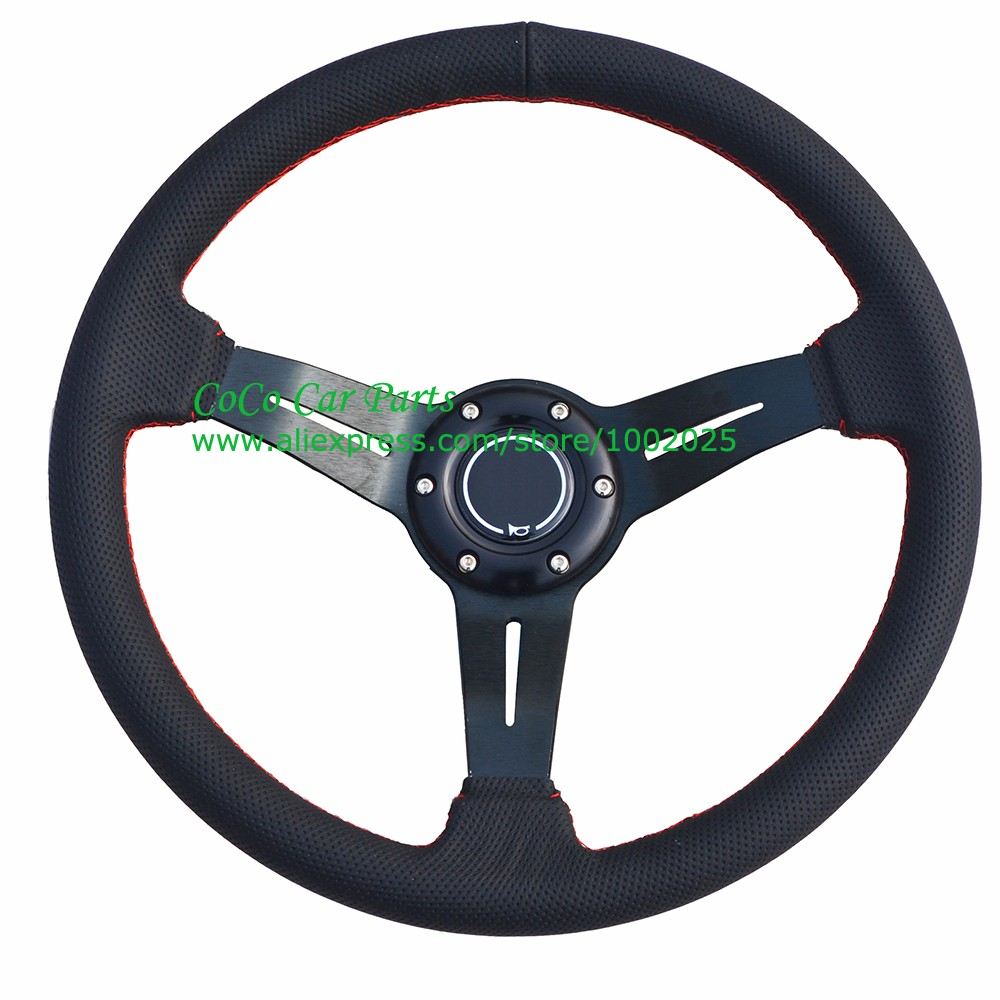 Automobile Steering Parts : Racing steering wheel universal leather modified auto