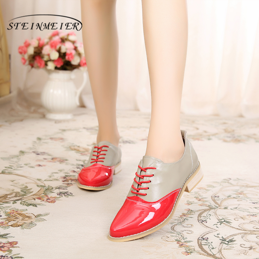 100% Genuine cow leather brogue casual designer vintage lady flats shoes handmade oxford shoes for women red blue silver vintage casual handmade 100