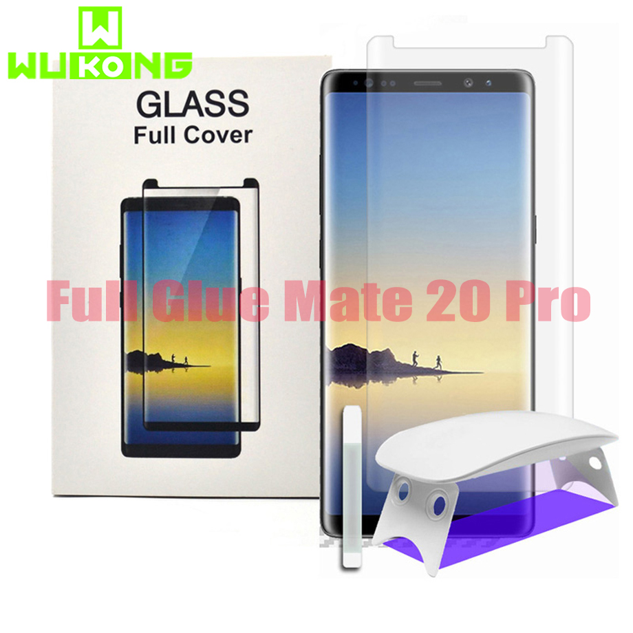 UV Glue Screen Protector For Huawei Mate 30 Pro P30 Pro Tempered Glass Full Cover UV Liquid For Samsung Note9 Note8 S10e S10Plus