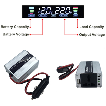 Inversor de corriente de coche portátil 100 vatios cc 12v a CA 220v con entrada de cabezal de cigarrillo USB sinusoidal modificada la salida de onda