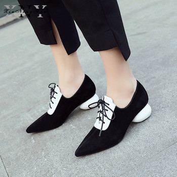 Fashion Women's Pumps Kid Suede Pointed Toe Classic Strange Egg Heel Lace Up Dress Shoes Wedding Party Office Lady Shoes 2019