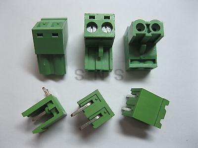 200 pcs 5.08mm Angle 2 pin Screw Terminal Block Connector Pluggable Type Green 150 pcs screw terminal block connector 3 5mm angle 7 pin green pluggable type
