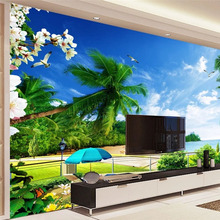 Papel pintado Mural personalizado de cualquier tamaño, Mural 3d para sala de estar, costa, playa, paisaje marino, Fondo de TV, Mural de pared, papel tapiz 3D