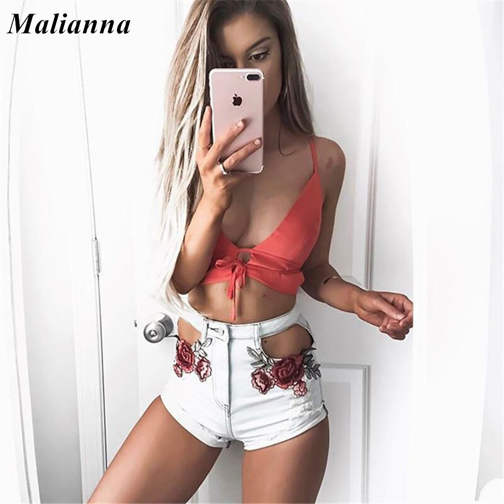 2017 Summer High Waist Shorts Denim Jeans with Embroidery Streetwear Ripped Shorts Jeans Worn Hole Female Hollow Out Sexy Shorts lemon floral embroidery shorts women high waist denim shorts female elegant vintage cute jeans ladies