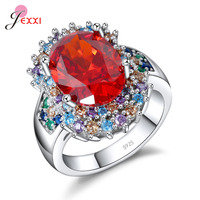 JEXXI Shining CZ Bridal Wedding Rings For Woman Female 925 Sterling Silver Colorful Cubic Zircon Promise