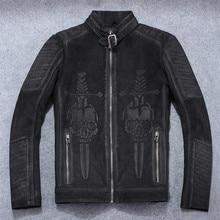 HARLEY DAMSON Vintage Black Men Skulls Motorcycle Leather Jacket Plus Size 4XL Real Thick Cowhide Spring Slim Fit Bikers Coat