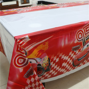 Image 4 - 1pcs 1.08x1.8M Cartoon Cars Theme Party Birthday Disposable Table Cloth Table Cover Map Party Supplies Decoration