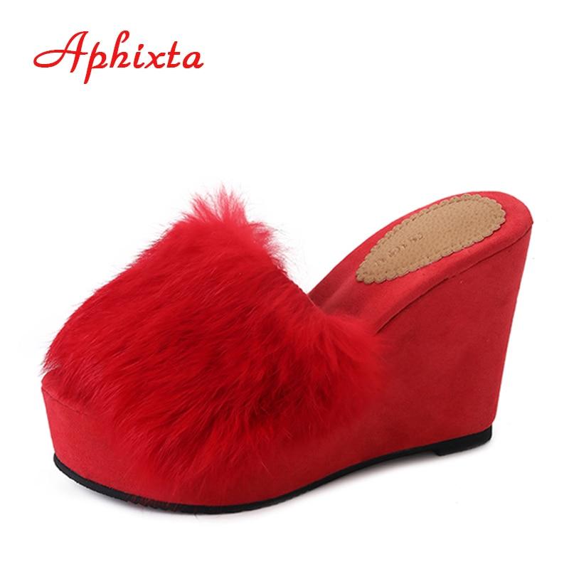 Aphixta Hoge Hak Platform Dames Slipper Zwart Herfst Chaussure Wedge Elegante Dames Slippers Klompen Buiten Slides Zomer Schoenen