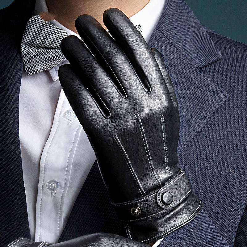2017 New Men Leather Wrist Glove Touch Screen Gloves Winter Outdoor Warm Fur Thickening Thermal Gloves