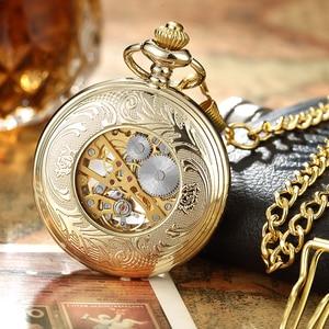 Image 3 - Luxury Retro Golden Hollow Skeleton Mechanical Pocket Watch Mens Fob Chain Steel Exquisite Sculpture Women Men Pocket Wath Gifs