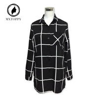 2017 New Hot Tops For Womens Casual Shirts European Blouses Brands Black Lapel Long Sleeve Plaid Buttons Pockets Blouse