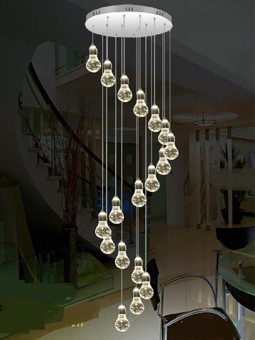 Stair light stair hanging chandelier LED bubble column living room revolving villa suction crystal column  long pendant lamp  m private villa living room chair retail