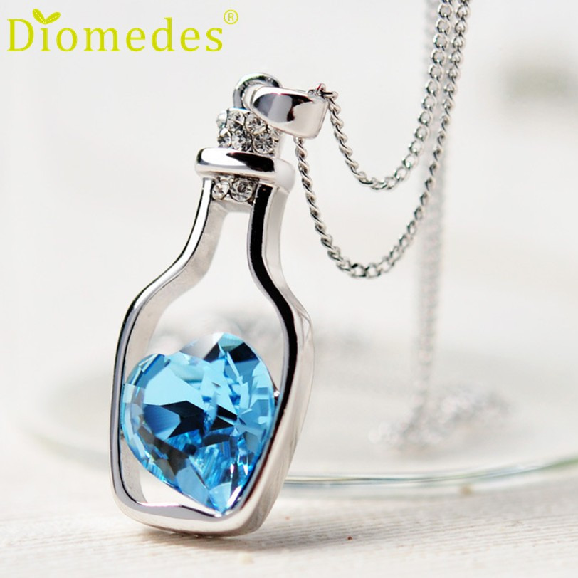Pendants: Creative Women Fashion Necklace Ladies Popular Style Love Drift Bottles Pendant Necklace Blue Heart Crystal Pendant Necklace
