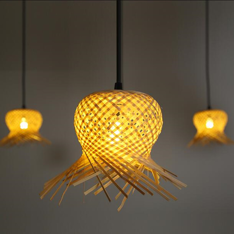 Aliexpress Com Buy America Vintage Loft Spider Pendant Lamp Hand Knitted Bamboo Shade Bulb Creative Interior Home Decor Lighting Diy 6 Arms 9 Arms From