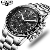 LIGE Watches Men Fashion Brand Multifunction Chronograph Quartz Watch Men Military Sport Wristwatch Male Clock Relogio