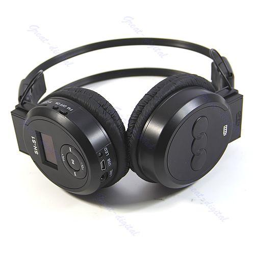 Black Sport MP3 Player LCD Foldable Wireless Headphone Headset FM Radio TF Card