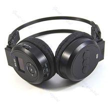 กีฬาสีดำ MP3 Player LCD แบบพับได้ชุดหูฟังไร้สายวิทยุ FM TF Card