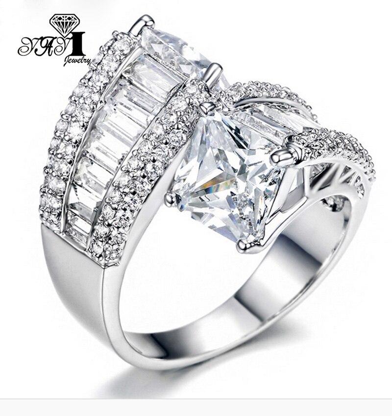 100% Kwaliteit Yayi Sieraden Mode Prinses Cut Enorme 3.6 Ct Witte Zirkoon Zilveren Kleur Verlovingsringen Trouwringen Partij Ringen