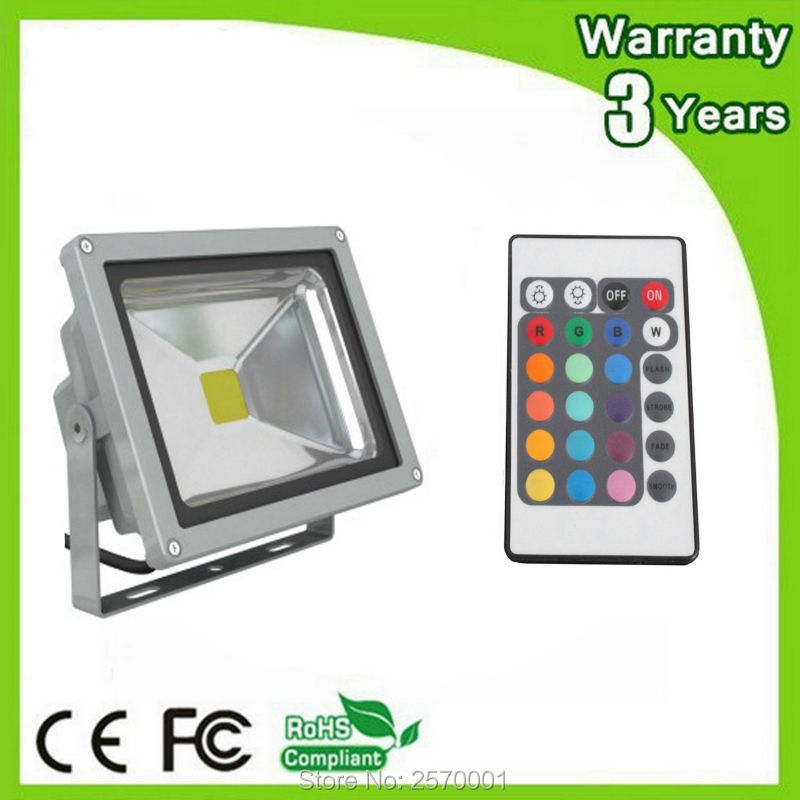 (12PCS/Lot) Epistar Chip 3 Years Warranty 20W 10W LED Flood Light RGB LED Floodlight Remote Color Change Spotlight Bulb