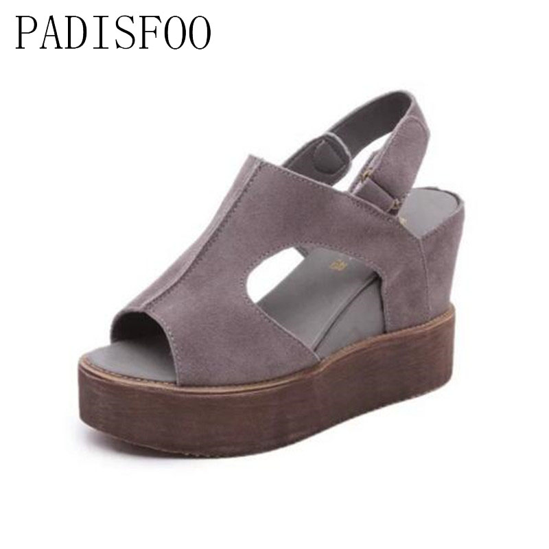 POADISFOO 2017 summer new slope with sandals female fish head high-heeled waterproof platform thick bottom shoes.CLL-3259 slope with super high heels 14cm platform shoes sandals and slippers spring and summer fish head thick crust waterproof shoes