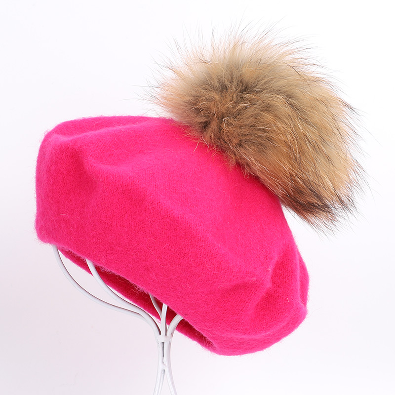 Берет художника, уличные шапки художника, осень и зима, новые теплые вязаные однотонные кепки, модный мех енота, помпон, берет в стиле винтаж - Цвет: Rose