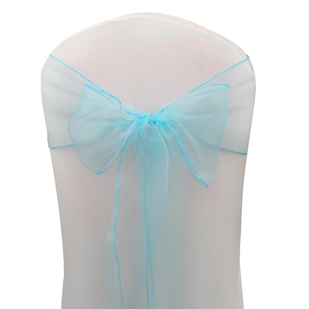 OurWarm, 18x275 см, органза, пояс для стула, бант, Чехол для стула, тюль, для свадьбы, вечеринки, банкета, Рождества, украшение, домашний текстиль - Цвет: AQB