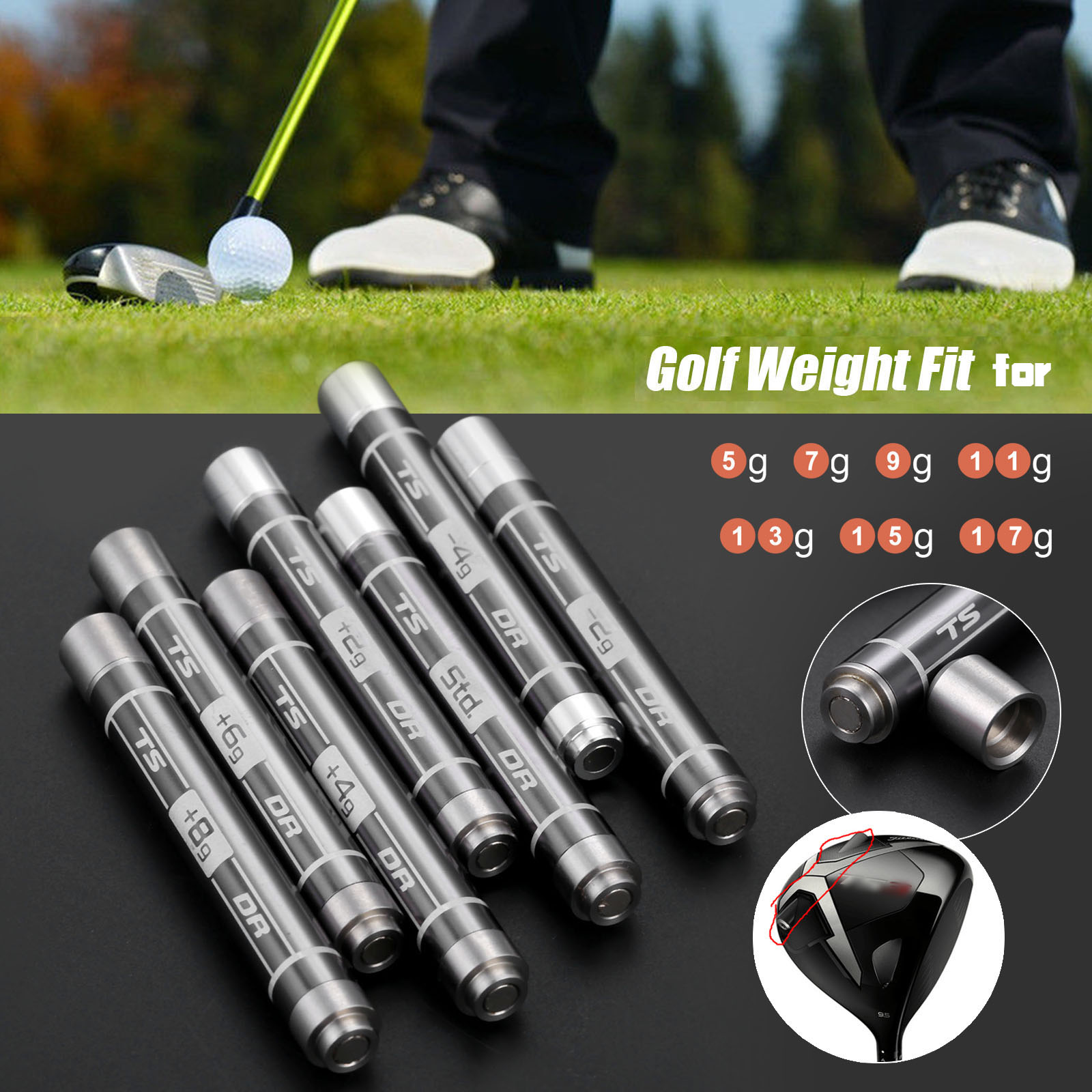 1Pc 5g 7g 9g 11g 13g 15g 17g Stainless Steel Golf Weight For Titleist TS3 Driver Golf Club Head Adding Weights Screw Accessories