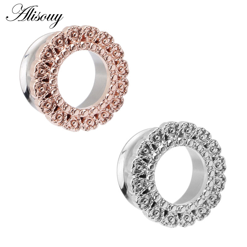 Details about  /2pcs Stainless Steel Ear Tunnel Dilator Gauges Dangle Stretcher Expander Jewelry