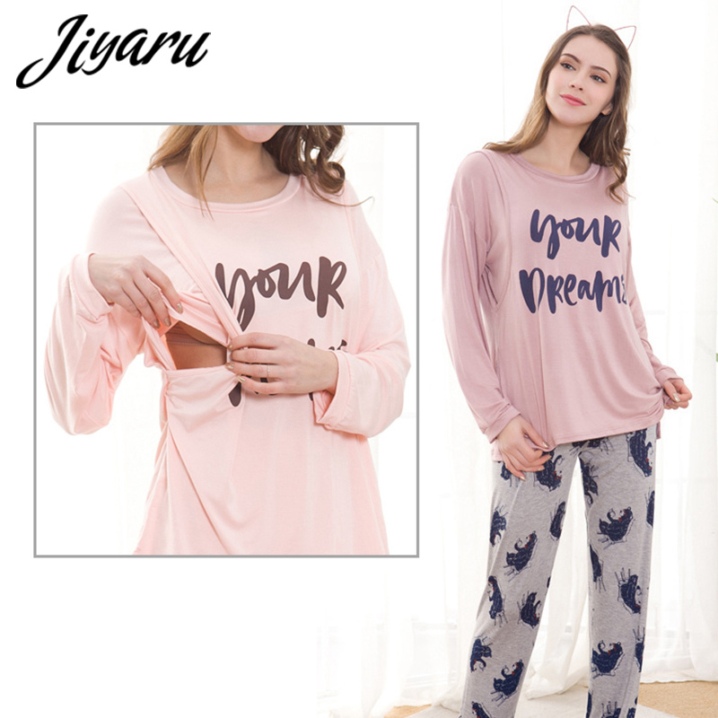 Pregnant Pajama Set Maternity Long Sleeves Breastfeeding Sleepwears Nightgown Summer Autumn Nursing Pajamas Maternity Clothes все цены